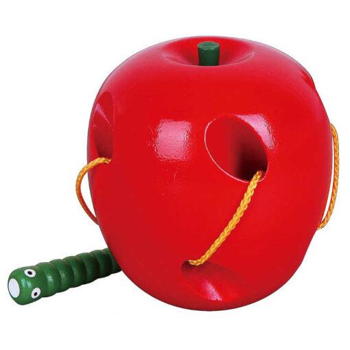 Przeplatanaka drewniana jabłko z robakiem